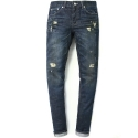 M#0460 dark blue stretch washed jeans