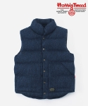 HARRIS TWEED DOWN VEST NAVY
