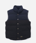 MIXED DOWN VEST NAVY