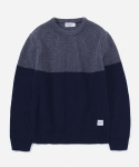 MIXED WOOL KNIT GRAY/NAVY