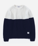 MIXED WOOL KNIT IVORY/NAVY