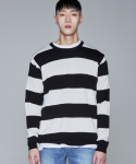퍼블릭아이콘(PUBLIC ICON) Intarsia Stripe Knit_black