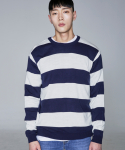 퍼블릭아이콘(PUBLIC ICON) Intarsia Stripe Knit_blue