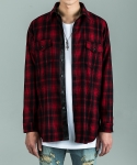 FLANNEL CHECKED SIDE ZIP SHIRT - RED