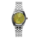 NIXON Small Time Teller Silver/Neon Yellow/Beetlepoint