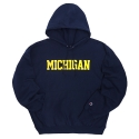 REVERSE WEAVE HOODED PULLOVER MICHIGAN (NAVY)