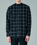 주로보로스 [5차 리오더중]Windowpane check raglan cotton linen shirts BK