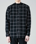 주로보로스 Windowpane check raglan cotton linen shirts BK