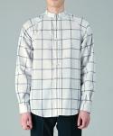 Windowpane check raglan cotton linen shirts WH