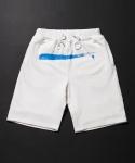 Blue Paint Half Sweatpants - White
