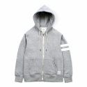 Zipup Hoody Stripe Cotton - grey