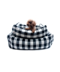 몽슈슈(MONCHOUCHOU) Linen Check Cushion-Black