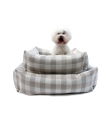 몽슈슈(MONCHOUCHOU) Linen Check Cushion-Beige