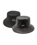 SAVANT leahter black & check reversible burket hat