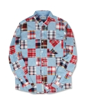 마치위드(MARCHWITH) CRAZY PATCHWORK SHIRTS SKYBLUE&RED