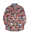 마치위드(MARCHWITH) CRAZY PATCHWORK SHIRTS RED&NAVY