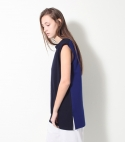 모한(MOHAN) [MOHAN] TWO TONE SLEEVELESS T-SHIRTS BLUE 모한