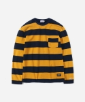 15 S/S L/S WIDE STRIPE T-SHIRTS NAVY/YELLOW