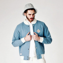 FLORAL STADIUM JACKET LIGHT BLUE