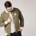 FLORAL STADIUM JACKET OLIVE GREEN