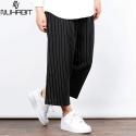 [NUHABIT]뉴해빗 - STRIPE WIDE PANTS - 블랙 - 와이드 팬츠