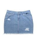 화이트블랭크레이블(WHITE BLANK LABEL) [DE WHITE] BASIC DENIM SKIRT (BLUE)