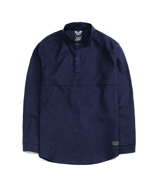 디시브(DESXXVE) SIGNATURE TWO SNAP LINEN NAVY SHIRT