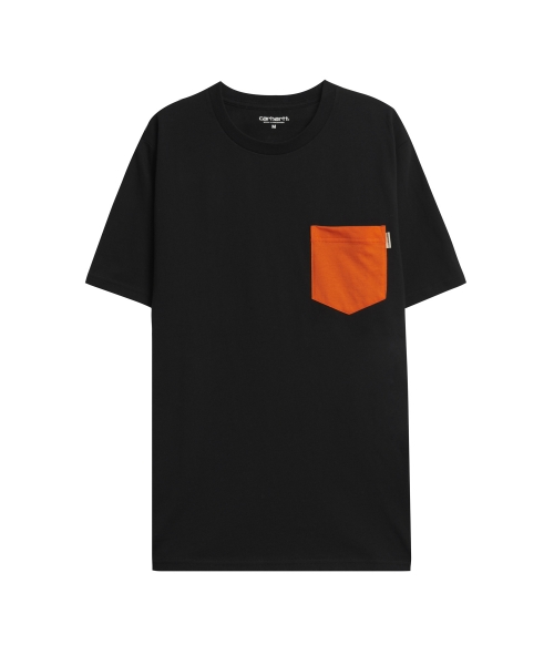 칼하트WIP_S/S CONTRAST POCKET T-SHIRT BLACK/CARHARTT ORANGE