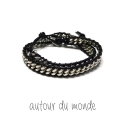 오뜨르 뒤 몽드(AUTOUR DU MONDE) DOUBLE CHAIN LEATHER MEN BRACELET