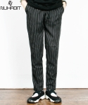 뉴해빗 [NUHABIT]뉴해빗 - STRIPE  SLACKS PANTS - 블랙 - 슬랙스 팬츠