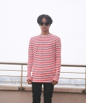 플레임 플라워(FLAME FLOWER) STRIPED LONG SLEEVE TSHIRT(RED)