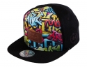 더블에이에이 피티드(DOUBLE AA FITTED) Black Graffiti DA Faux Leather patch cap