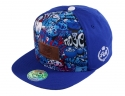 더블에이에이 피티드(DOUBLE AA FITTED) Blue Graffiti DA Faux Leather patch cap