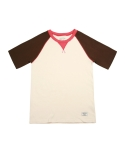 어레인지(ARRANGE) Colorblock Short Sleeve Raglan T (Brown)