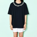 FLOWER EMBROIDERY T-SHIRTS(BLACK)