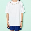 FLOWER EMBROIDERY T-SHIRTS(WHITE)