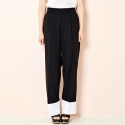 BANDING TURN-UP WIDE TROUSER (BLACK)