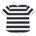 업스케일(UPSCALE) HENLEY NECK STRIPE TEE - BLACK