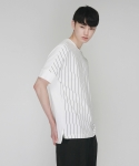 [MOHAN] WHITE STRIPED T-SHIRT