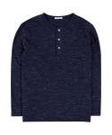 하레(HARE) SCRATCH HENRY NECK TEE (NAVY) [HUSUTL005NAY]