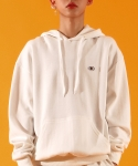 베이직코튼(BASIC COTTON) color logo hood - WHITE