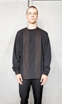 Raw hem woven panelled sweatshirt