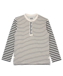 콰이트(QUITE) [콰이트] 3 Stripes Henly Neck T (ecru x navy)