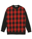 콰이트(QUITE) [콰이트] Wool Check Sweatshirt (RED)