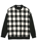 콰이트(QUITE) [콰이트] Wool Check Sweatshirt (WHITE)