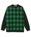 콰이트(QUITE) [콰이트] Wool Check Sweatshirt (GREEN)