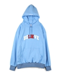 하이노크(HIGHKNOCK) believe lie hooded sweatshirt skyblue - over fit