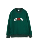 하이노크(HIGHKNOCK) believe lie crewneck sweatshirt green - over fit