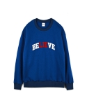 하이노크(HIGHKNOCK) believe lie crewneck sweatshirt blue - over fit
