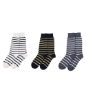 [3개 SET] AUTUMN LEAVES block stripe socks 3P